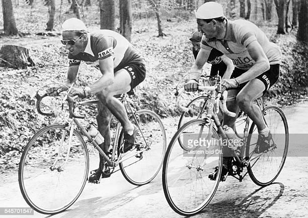 Kubler Ferdinand Ferdi Cyclist Switzerland with Gino Bartali during the race Fleche Wallone