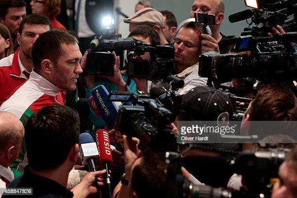 Kubrat Pulev of Bulgaria attends media workout at Volkswagen Hall in Hamburg at on November 12 2014 in Hamburg Germany