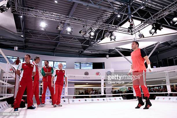 Kubrat Pulev of Bulgaria attends media workout at Volkswagen Hall on November 12 2014 in Hamburg Germany