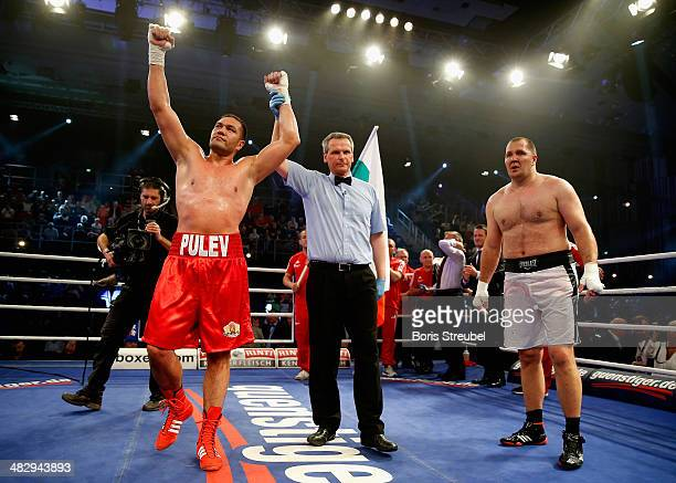 Kubrat Pulev of Bulgaria celebrates after winning his heavyweight fight against Ivica Perkovic of Croatia at Stadthalle Rostock on April 5 2014 in...