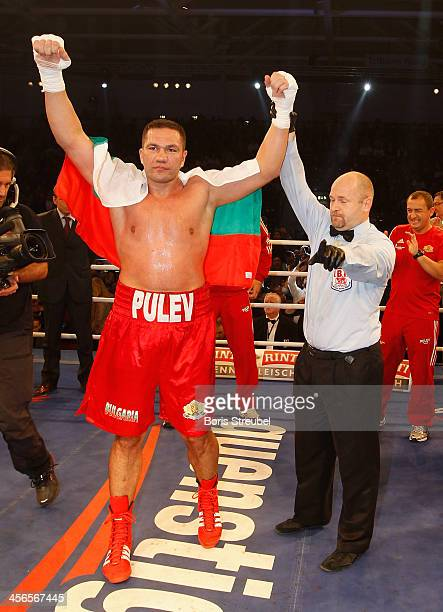 Kubrat Pulev of Bulgaria celebrates after winning his IBF international heavyweight championship fight against Joey Abell of United States at...