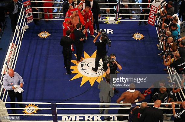 Kubrat Pulev of Bulgaria celebrates after winning the IBF International heavyweight fight at Sport und Kongresshalle on August 24 2013 in Schwerin...
