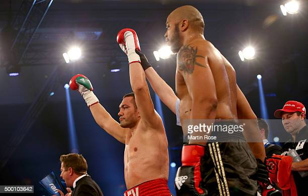 Kubrat Pulev of Bulgaria celebrates victory over Maurice Harris of USA after their heavyweight fight at Inselparkhalle on December 5 2015 in Hamburg...