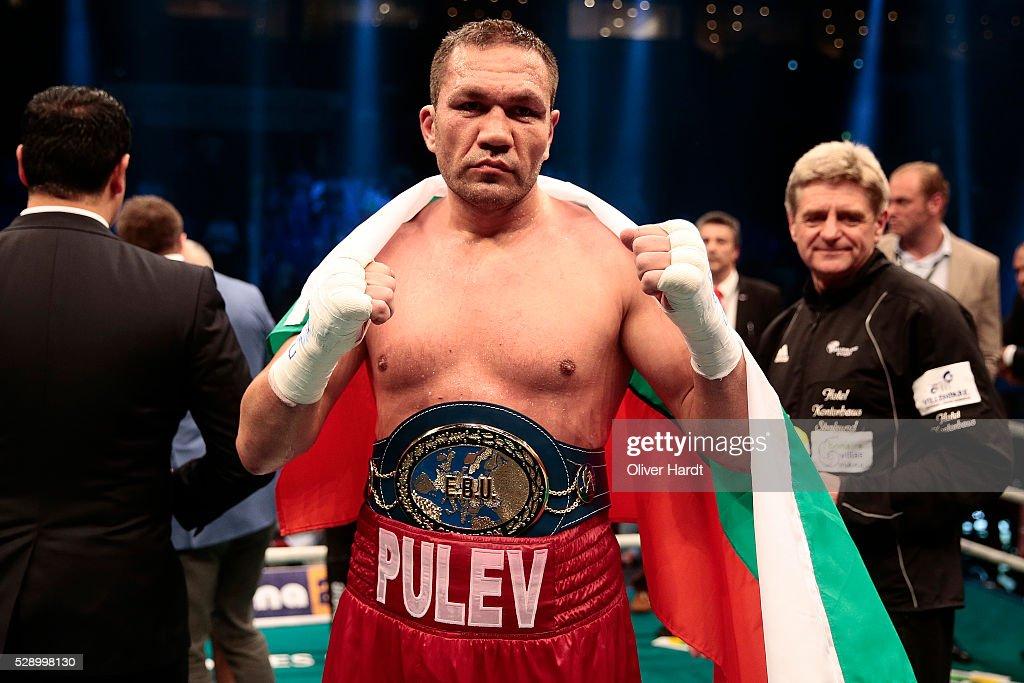 Kubrat Pulev of Bulgaria celerate after Heavyweight European Championship between Kubrat Pulev and Dereck Chisora at Barclaycard Arena on May 7, 2016 in Hamburg, Germany.