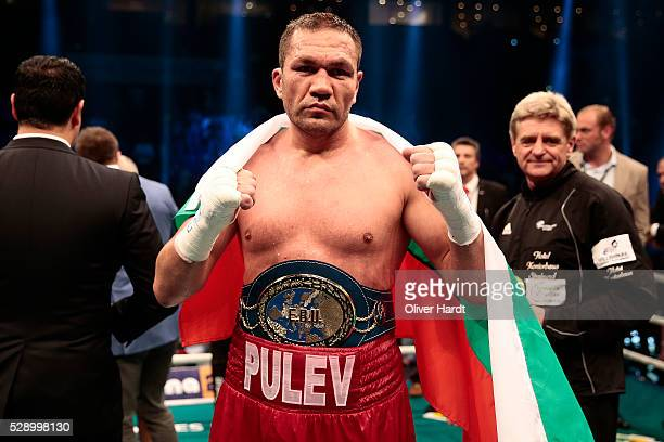 Kubrat Pulev of Bulgaria celerate after Heavyweight European Championship between Kubrat Pulev and Dereck Chisora at Barclaycard Arena on May 7 2016...