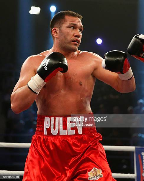 Kubrat Pulev of Bulgaria in action during his heavyweight fight against Ivica Perkovic of Croatia at Stadthalle Rostock on April 5 2014 in Rostock...