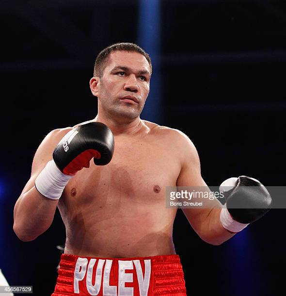 Kubrat Pulev of Bulgaria in action during his IBF international heavyweight championship fight against Joey Abell of United States at Jahnsportforum...