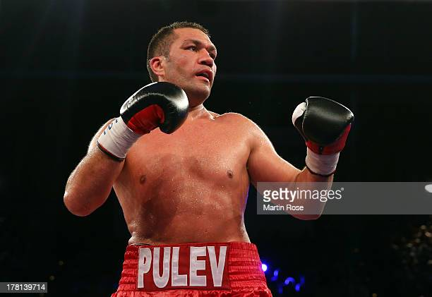 Kubrat Pulev of Bulgaria in action during the IBF International heavyweight fight at Sport und Kongresshalle on August 24 2013 in Schwerin Germany