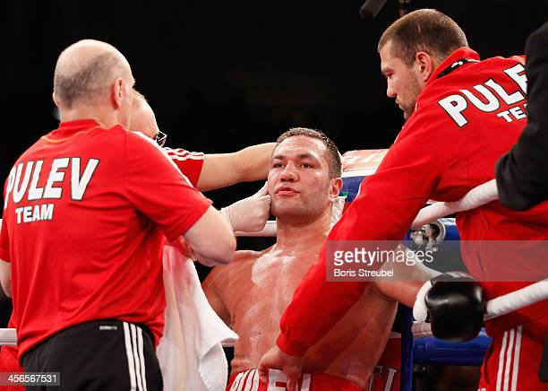 Kubrat Pulev of Bulgaria sits in the ring corner during his IBF international heavyweight championship fight against Joey Abell of United States at...
