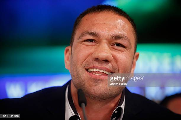 Kubrat Pulev of Bulgaria talks to the media during a press conference ahead of the upcoming heavyweight boxing title fight between Wladimir Klitschko...