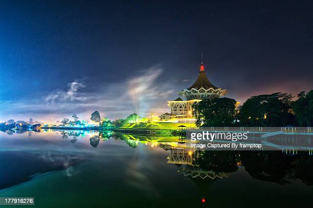 kuching at night - looking at d.u.n - sarawak state stock pictures, royalty-free photos & images