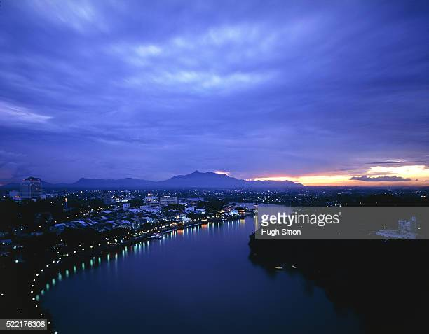 kuching, borneo, at night - hugh sitton stock pictures, royalty-free photos & images