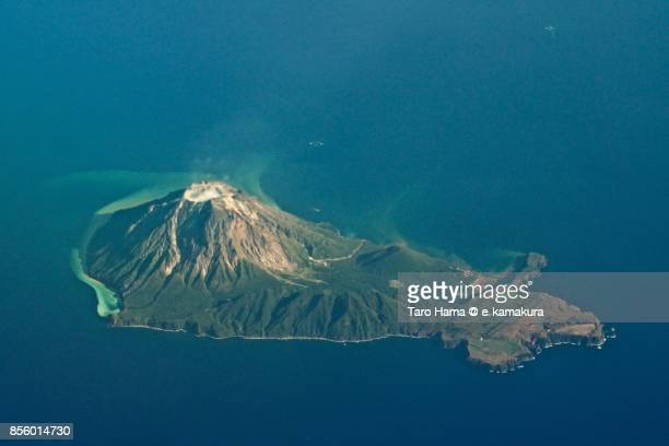 Kuchinoerabujima, active volcano island in Kagoshima prefecture in Japan daytime aerial view from airplane