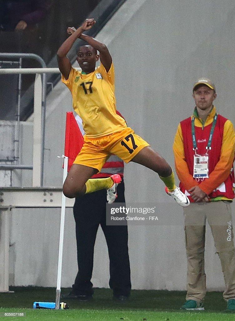 Kudakwashe Basopo of Zimbabwe celebrates after scoring a goal during the Women's First Round Group F match between Zimbabwe and Germany at Arena Corinthians on August 3, 2016 in Sao Paulo, Brazil.