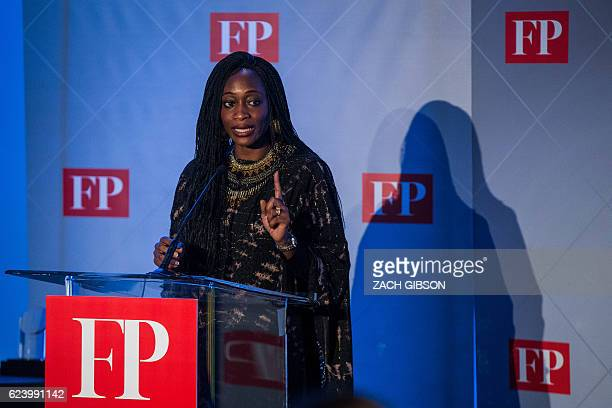 Kudirat Initiative founder Hafsat Abiola speaks after receiving the Citizen Diplomat of the Year Award during the fifth annual Diplomat of the Year...