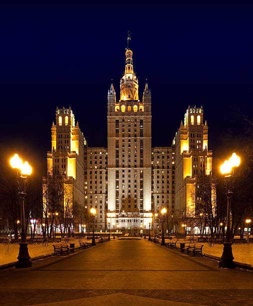 Kudrinskaya Square Building in Moscow at night