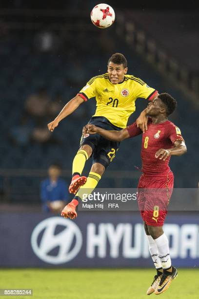 Kudus Mohammed of Ghana and Etilso Martinez of Columbia battle for the ball during the FIFA U17 World Cup India 2017 group A match between Colombia...