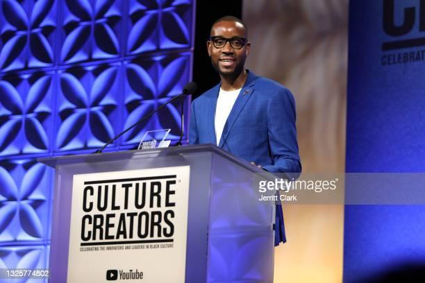 Kudzi Chikumbu, recipient of the 2021 Culture Creators Tech Award speaks onstage at the Culture Creators Innovators & Leaders Awards at The Beverly...