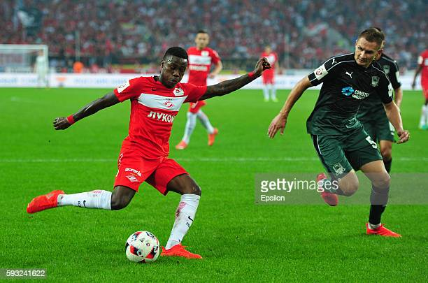 Kuinsi Promes of FC Spartak Moscow and Artur Jedrzejczyk of FC Krasnodar vie for the ball during the Russian Premier League match between FC Spartak...