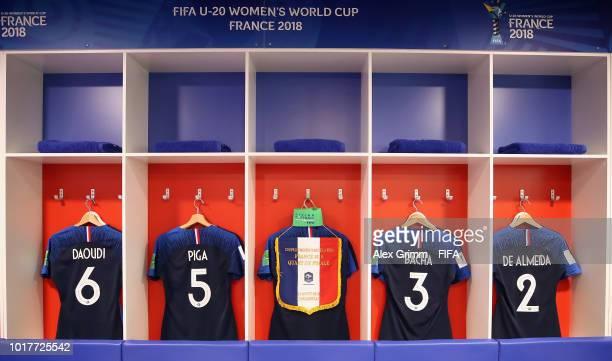 Kuk Hyang An of Korea DPR challenges for the ball during the FIFA U20 Women's World Cup France 2018 Quarter Final quarter final match between France...