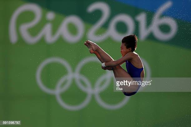 Kuk Hyang Kim of North Korea competes during the Women's 10m Platform Diving preliminaries on Day 12 of the Rio 2016 Olympic Games at Maria Lenk...