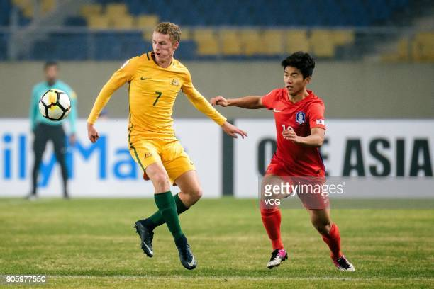 Kuk TaeJung of South Korea and Trent Buhagiar of Australia compete for the ball during the AFC U23 Championship Group D match between South Korea and...