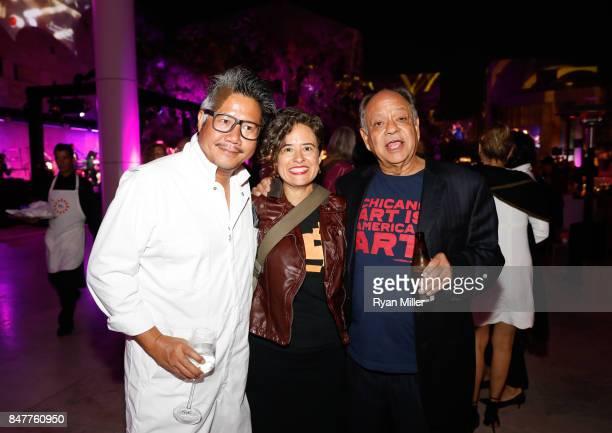 Kulapat Yantrasast Carolina Miranda and Cheech Marin attend the Pacific Standard Time LA/LA Opening Celebration at the Getty Museum on September 15...