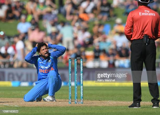 Kuldeep Yadav of India appeals during game one of the One Day International series between New Zealand and India at McLean Park on January 23, 2019...