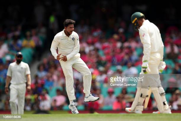 Kuldeep Yadav of India celebrates dismissing Usman Khawaja of Australia during day three of the Fourth Test match in the series between Australia and...
