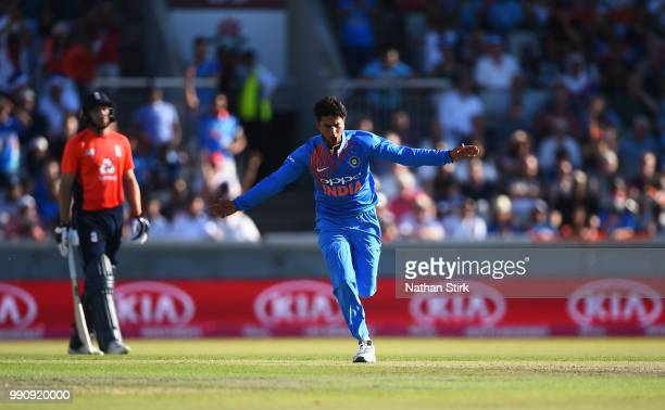 Kuldeep Yadav of India celebrates getting Joe Root of England out during the 1st Vitality International T20 match between England and India at...