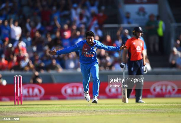 Kuldeep Yadav of India celebrates getting Jonathan Bairstow of England out during the 1st Vitality International T20 match between England and India...