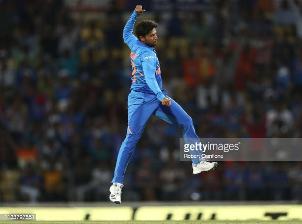 Kuldeep Yadav of India celebrates taking the wicket of Aaron Finch of Australia during game two of the One Day International series between India and...