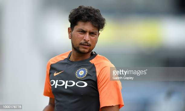 Kuldeep Yadav of India during a net session at Headingley on July 16 2018 in Leeds England