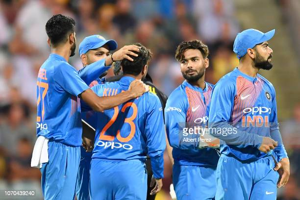 Kuldeep Yadav of India is congratulated by team mates after bowling out Chris Lynn of Australia during game one of the International Twenty20 series...