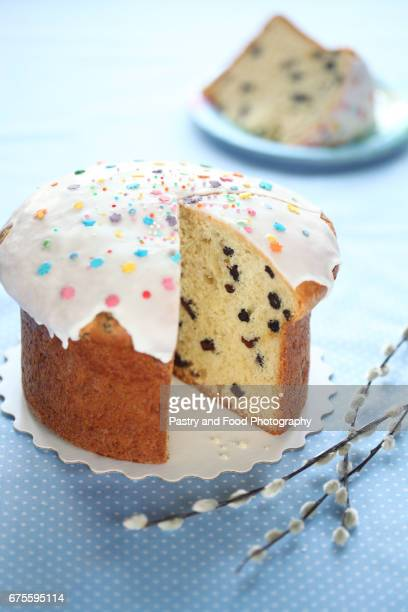 kulich - russian easter cake - easter orthodox stock photos and pictures
