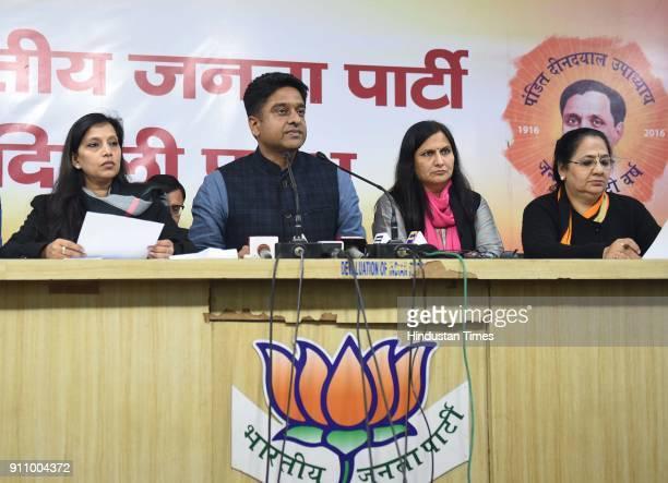 Kuljeet Singh Chahal Vice President of Delhi BJP along with Kamaljeet Sehrawat Mayor of SDMC and Neema Bhagat Mayor EDMC during a press conference...