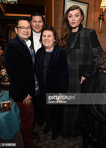 Kullawit Laosuksri Sorapol Chawaphtnakul Suzy Menkes and Daniel Lismore attend the Vogue Thailand x Sorapol drinks reception and dinner during Paris...
