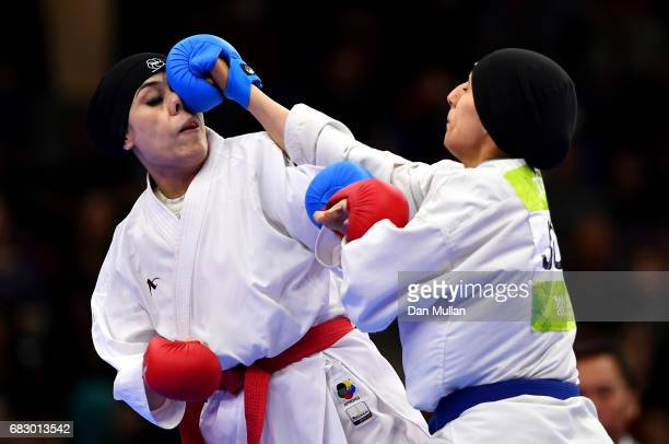 Kulsoom Kulsoon of Pakistan competes against Hala Traish of Jordan in the Womens Karate Kumite 69kg bronze medal match during day three of Baku 2017...