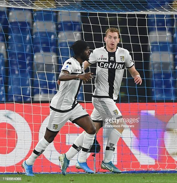 Kulusevski Dejan and Gervinho players of Parma Calcio celebrates after scoring the 01 goal during the Serie A match between SSC Napoli and Parma...
