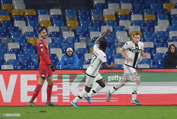 Kulusevski Dejan of Parma Calcio celebrates after scoring the 01 goal during the Serie A match between SSC Napoli and Parma Calcio at Stadio San...