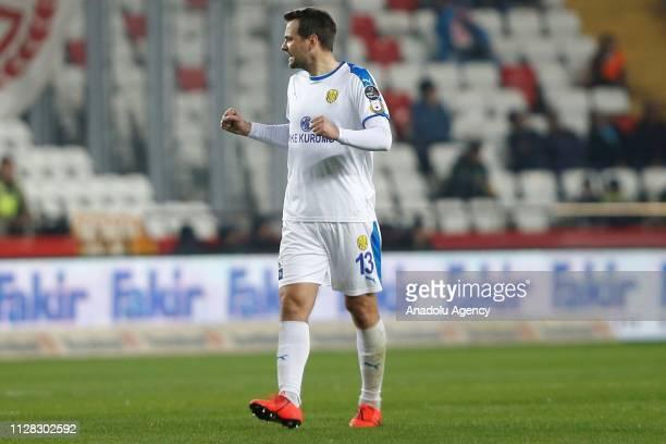 Kulusic of MKE Ankaragucu celebrates after scoring a goal during Turkish Super Lig soccer match between Antalyaspor and MKE Ankaragucu at Antalya...