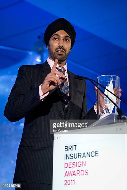Kulveer Ranger celebrates winning the Transport category at the Brit Insurance Design Awards at the Design Museum on March 15 2011 in London England...