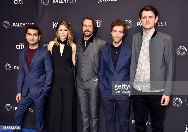 Kumail Nanjiani Amanda Crew Martin Starr Thomas Middleditch and Zach Woods attend HBO's Silicon Valley Panel at PaleyFest 2018 at The Kodak Theatre...
