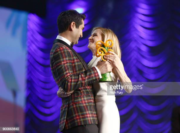 Kumail Nanjiani and Career Achievement Award winner Holly Hunter onstage at the 29th Annual Palm Springs International Film Festival Awards Gala at...