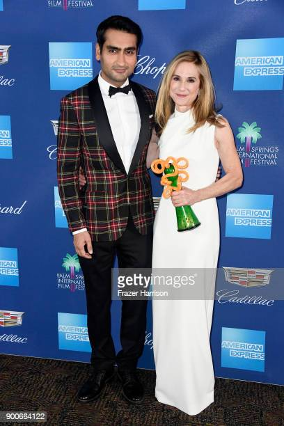 Kumail Nanjiani and Career Achievement Award winner Holly Hunter attend the 29th Annual Palm Springs International Film Festival Awards Gala at Palm...