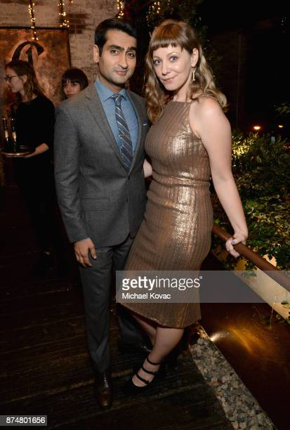 Kumail Nanjiani and Emily V Gordon at Moet Celebrates The 75th Anniversary of The Golden Globes Award Season at Catch LA on November 15 2017 in West...