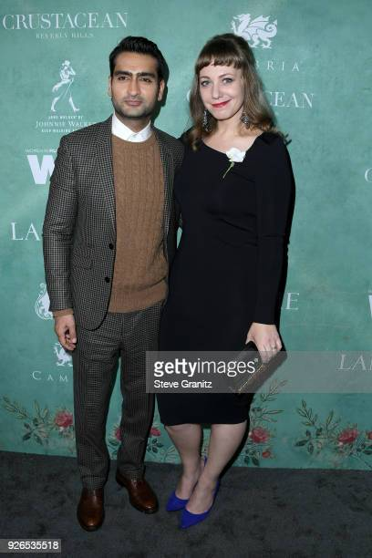 Kumail Nanjiani and Emily V Gordon attend the 11th annual celebration of the 2018 female Oscar nominees presented by Women in Film at Crustacean on...
