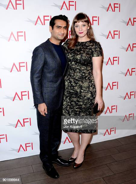 Kumail Nanjiani and Emily V Gordon attend the 18th Annual AFI Awards at Four Seasons Hotel Los Angeles at Beverly Hills on January 5 2018 in Los...