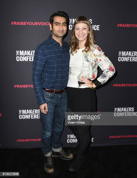 Kumail Nanjiani and Emily V Gordon attend The 2018 MAKERS Conference at NeueHouse Hollywood on February 6 2018 in Los Angeles California
