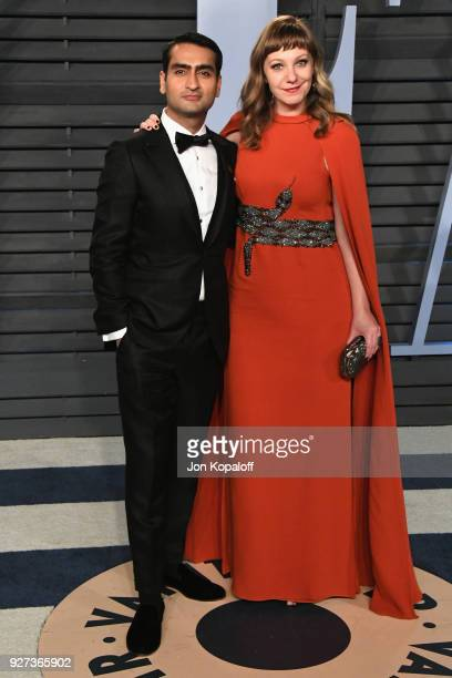 Kumail Nanjiani and Emily V Gordon attend the 2018 Vanity Fair Oscar Party hosted by Radhika Jones at Wallis Annenberg Center for the Performing Arts...